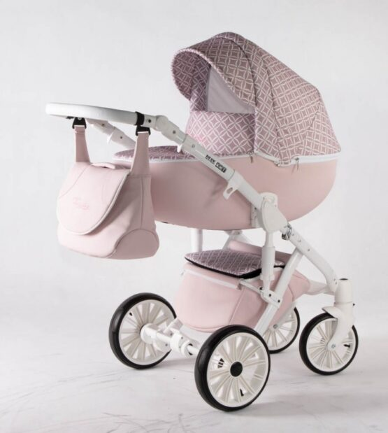 Бебешка количка Ферара 3в1; цвят: розов/шарки