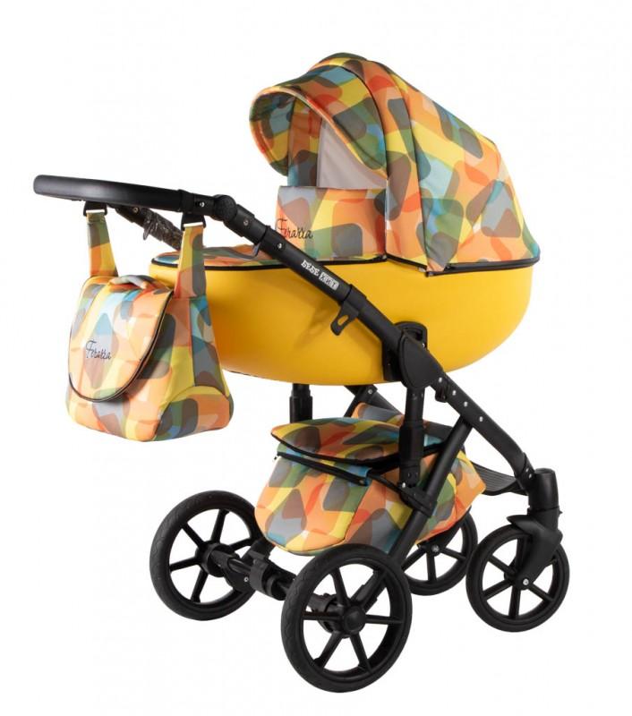 Бебешка количка Ферара 3в1; цвят: оранжев/шарки