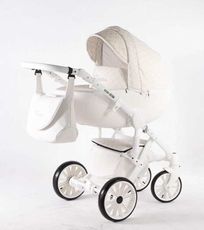 Бебешка количка Ферара 3в1; цвят: бял/шарки