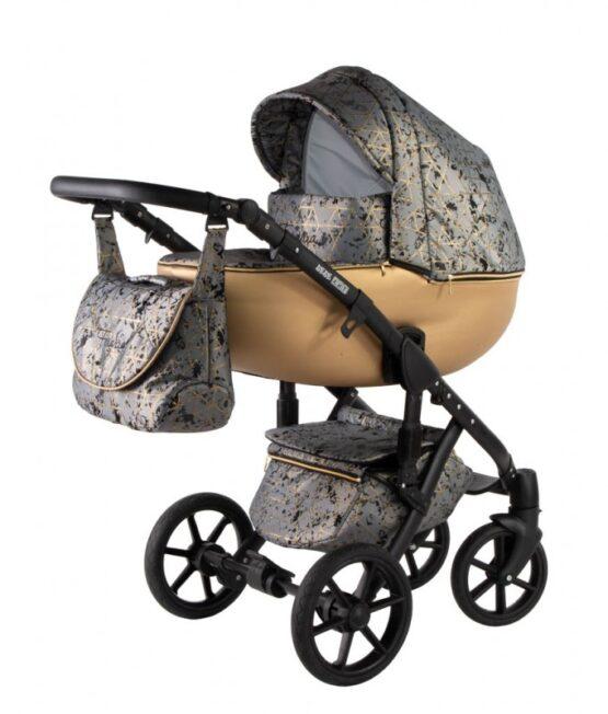 Бебешка количка Ферара 3в1; цвят: сив/крем/шарки