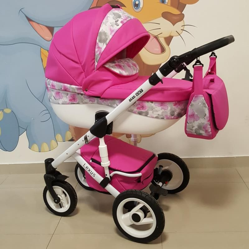 Бебешка количка Лексус 2в1; цвят: розов/цветя