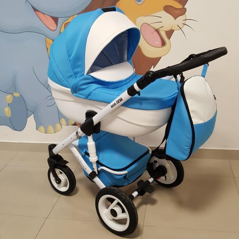 Бебешка количка Ягуар 2в1; цвят: син/бял