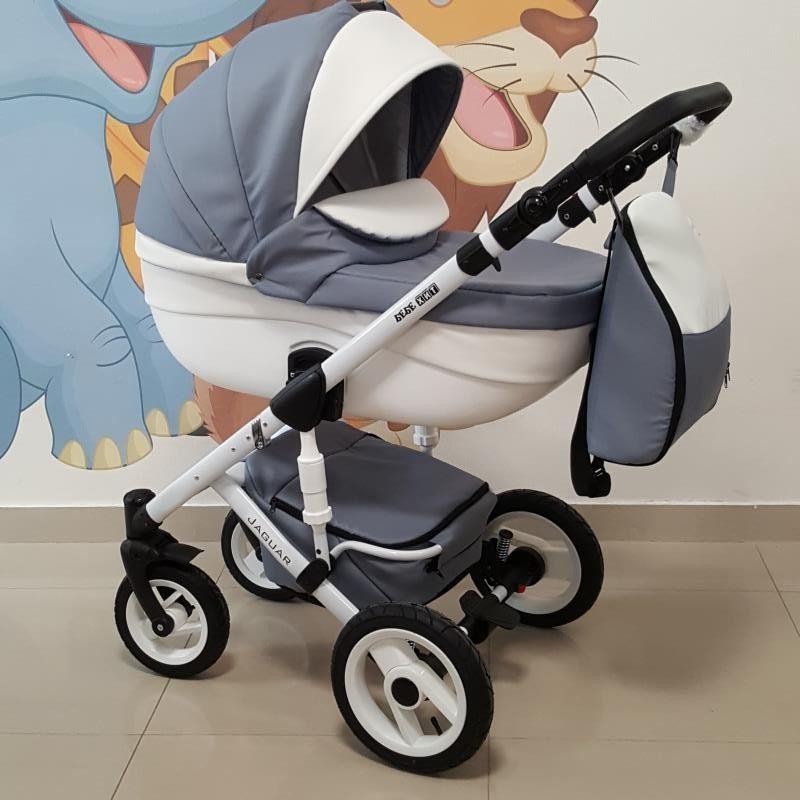 Бебешка количка Ягуар 2в1; цвят: сив/бял