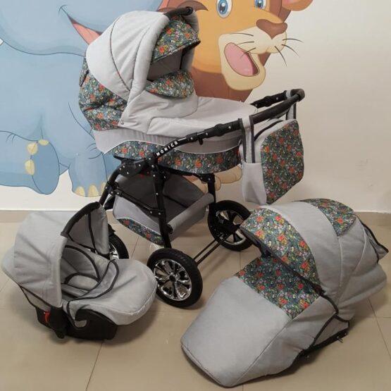 Бебешка количка Monica 3в1; цвят: сив/цветя