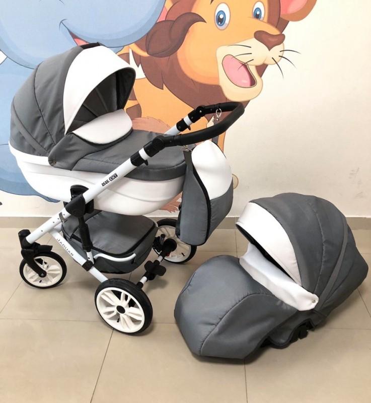 Бебешка количка Jaguar 2в1; цвят: сив/бял