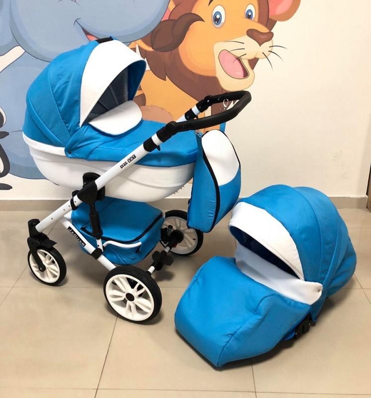 Бебешка количка Jaguar 2в1; цвят: син/бял