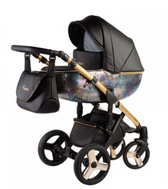 Бебешка количка Ферара Голд 3в1; цвят: черен/ириденция