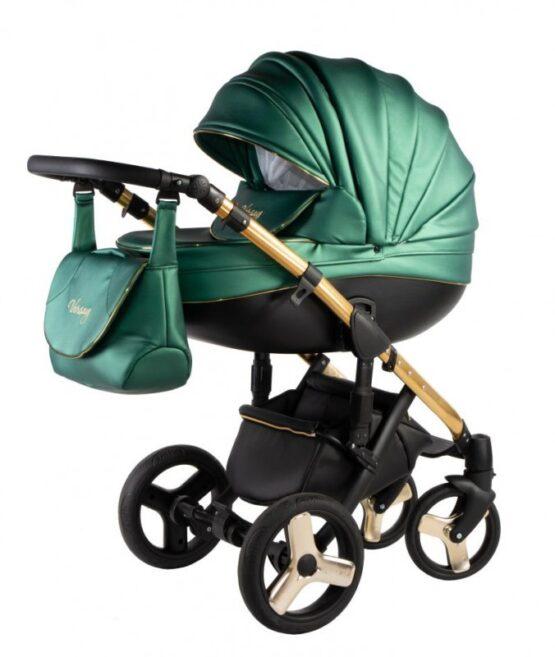 Бебешка количка Versay Gold 3в1; цвят: малахит/черен