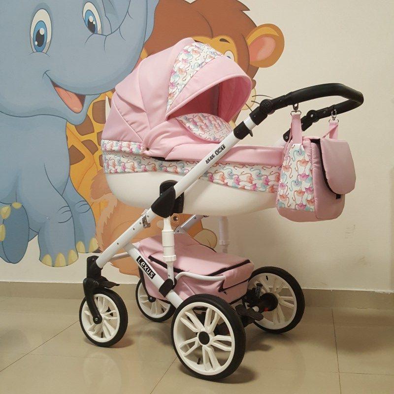Бебешка количка Лексус 2в1; цвят: розов/фламинго