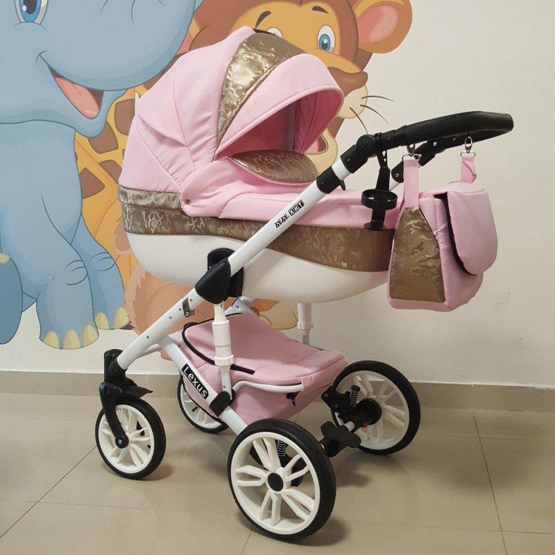Бебешка количка Лексус 2в1; цвят: розов/златен