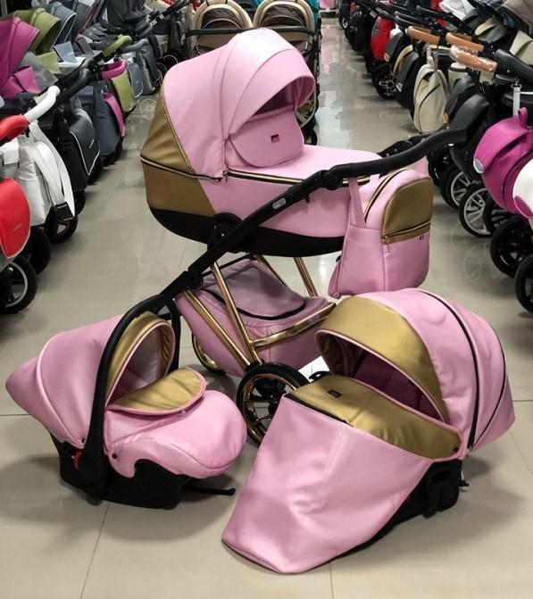 Бебешка количка Агикс 3в1; цвят: розов/злато
