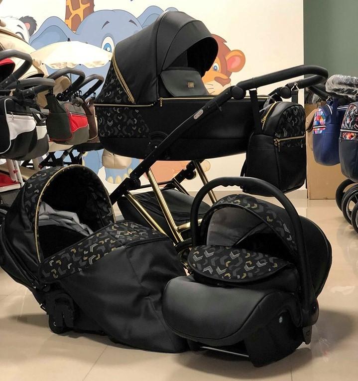 Бебешка количка Агикс 3в1; цвят: черен/златни шарки