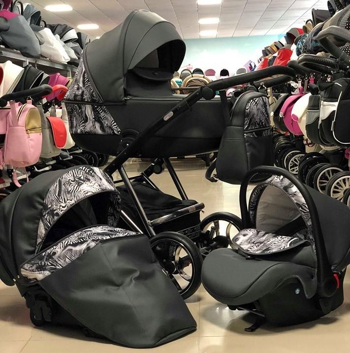 Бебешка количка Агикс 3в1; цвят: черен/шарки