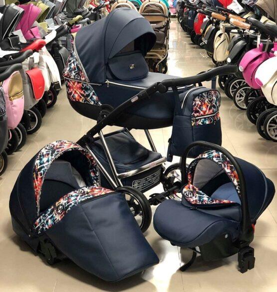 Бебешка количка Агикс 3в1; цвят: черен/цветни шарки