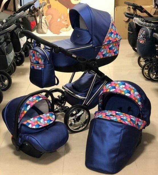 Бебешка количка Агикс 3в1; цвят: син/шарки