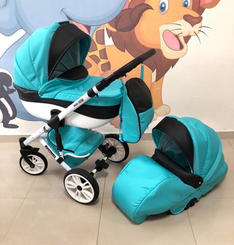 Бебешка количка Jaguar 2в1; цвят: син/черен/бял