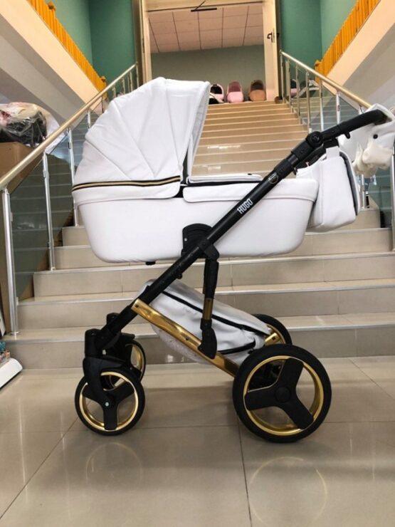 Бебешка количка Hugo 3в1; цвят: бял