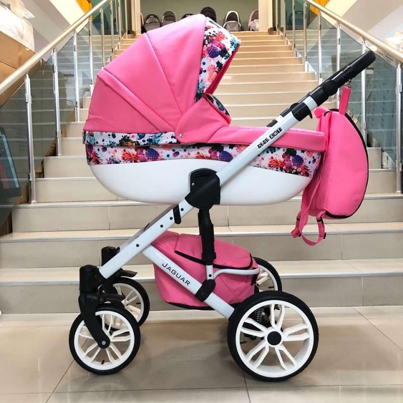 Бебешка количка Jaguar 2в1; цвят: розов/цветя