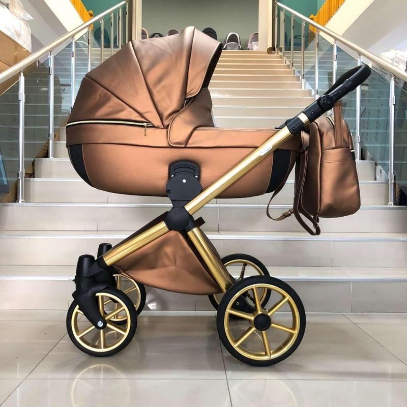 Бебешка количка Азуро 3в1; цвят: меден