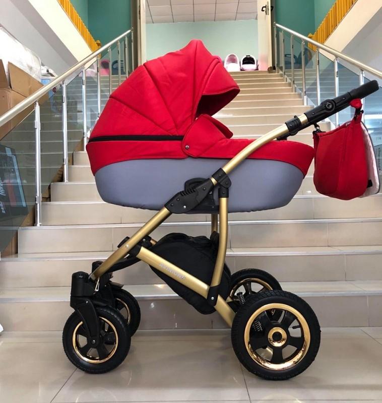 Бебешка количка Avinion 3в1; цвят: червен