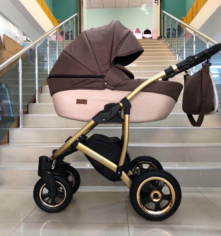Бебешка количка Avinion 3в1; цвят: кафяв/крем