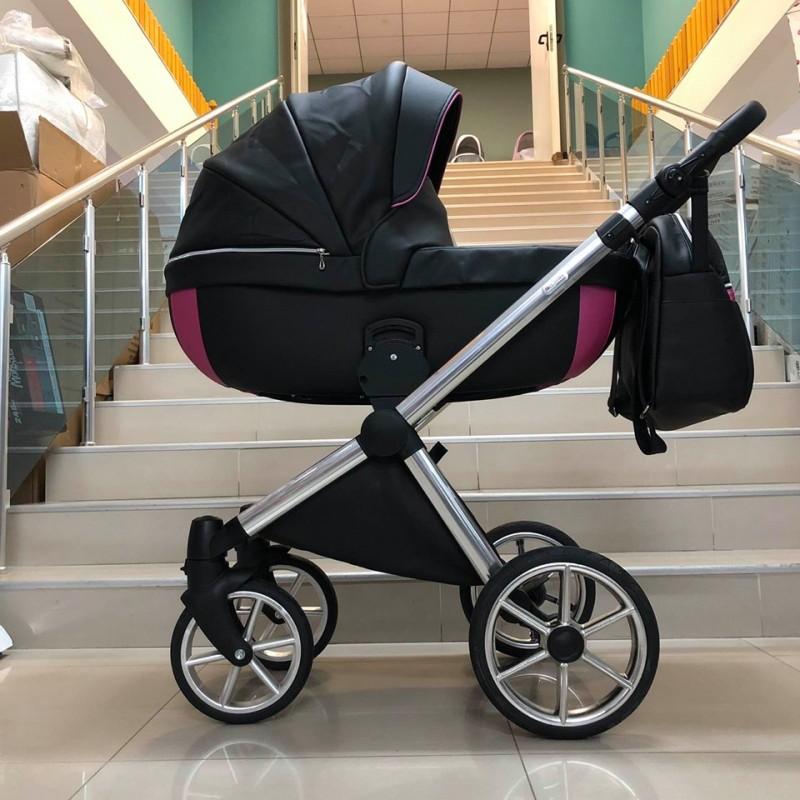 Бебешка количка Азуро 3в1; цвят: черен/розов кант