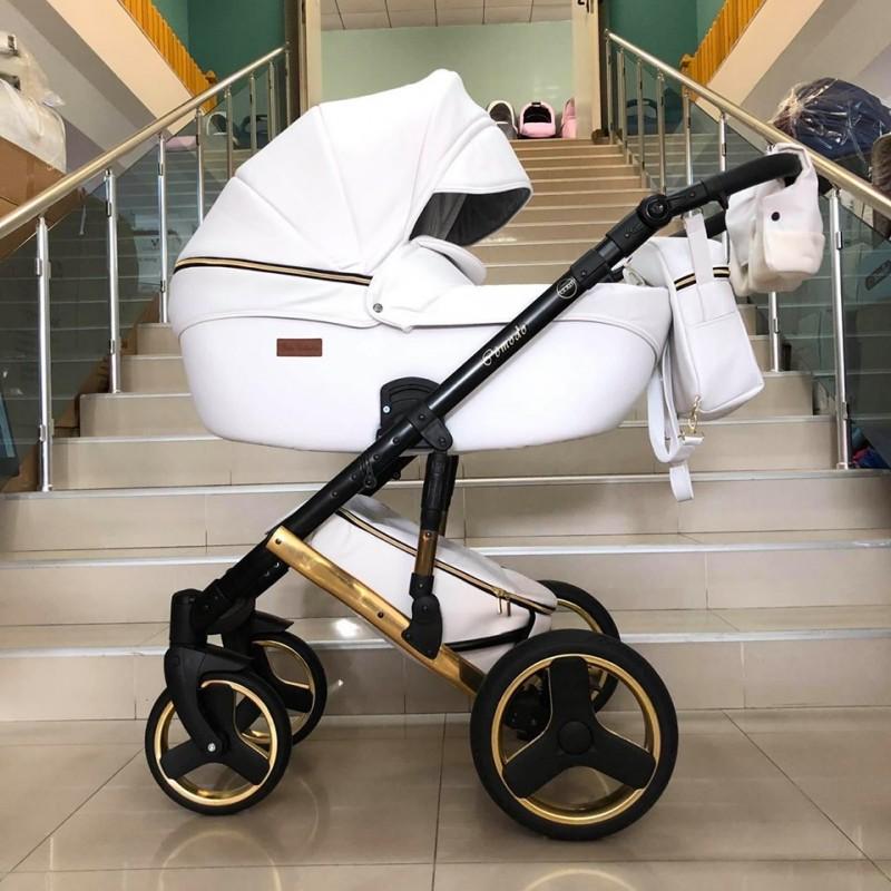 Бебешка количка Comodo Gold 3в1; цвят: бял