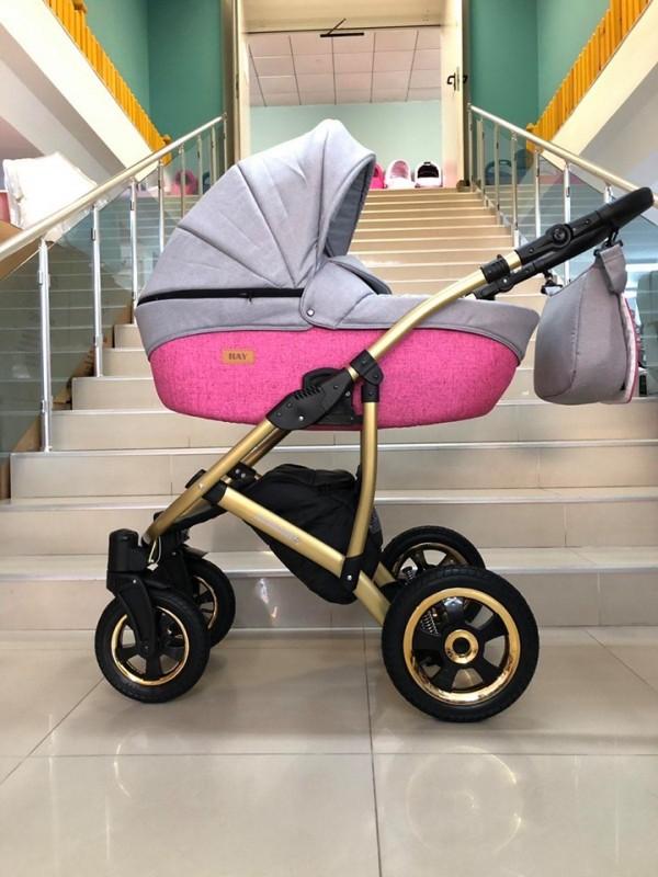 Бебешка количка Avinion 3в1; цвят: розов/сив