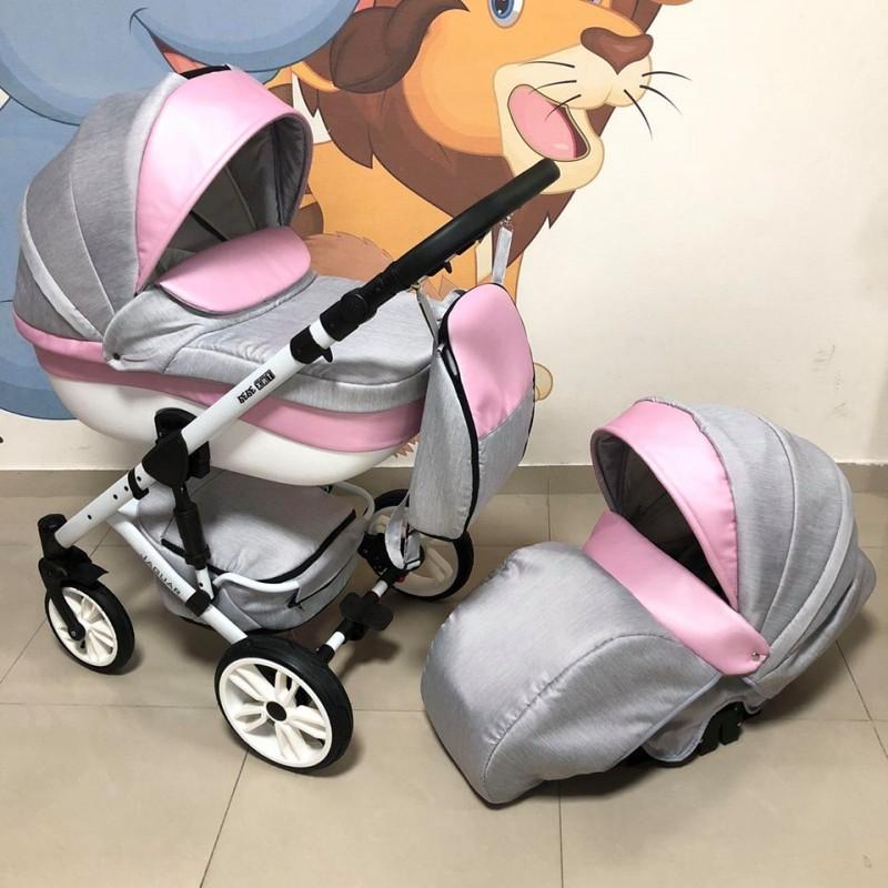 Бебешка количка Jaguar 2в1; цвят: сив/розов