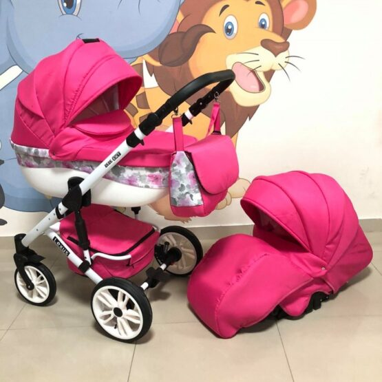 Бебешка количка Лексус 2в1; цвят: розов/кант с цветя