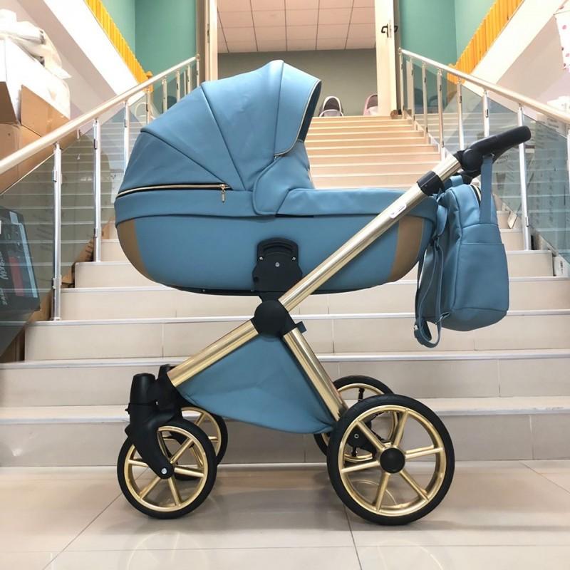 Бебешка количка Азуро 3в1; цвят: син/златен кант