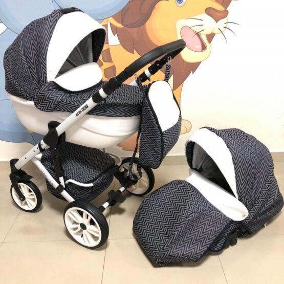 Бебешка количка Jaguar 2в1; цвят: черен/точки/бял