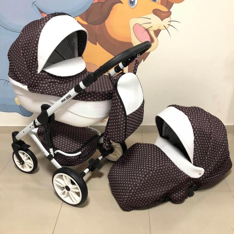 Бебешка количка Jaguar 2в1; цвят: кафяв/точки/бял