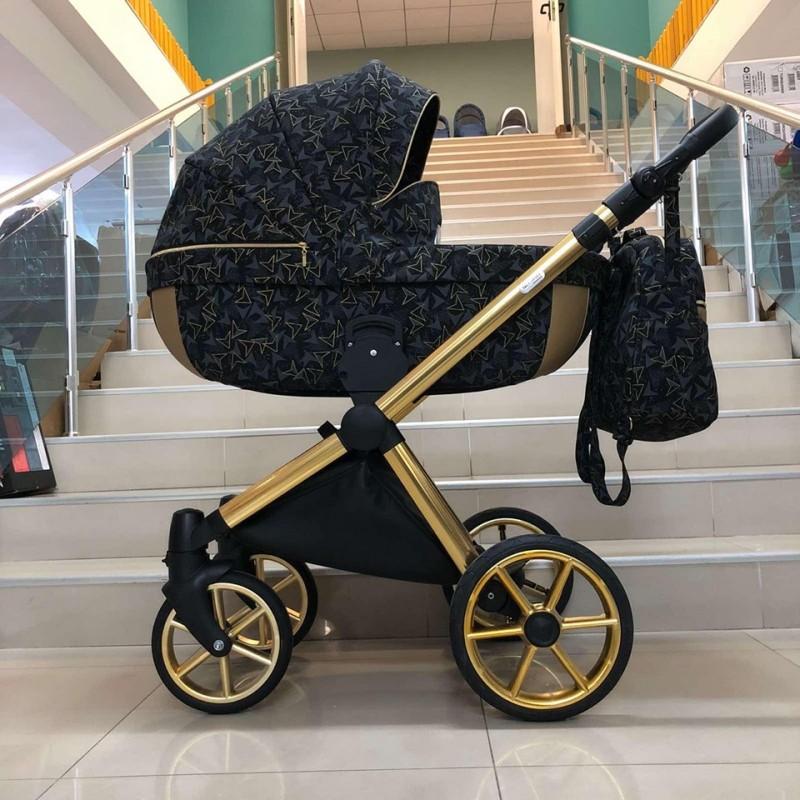 Бебешка количка Азуро 2в1; цвят: черни шарки/златен кант