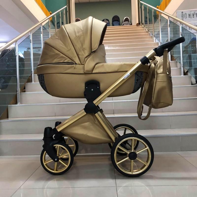 Бебешка количка Азуро 3в1; цвят: златен/шарки