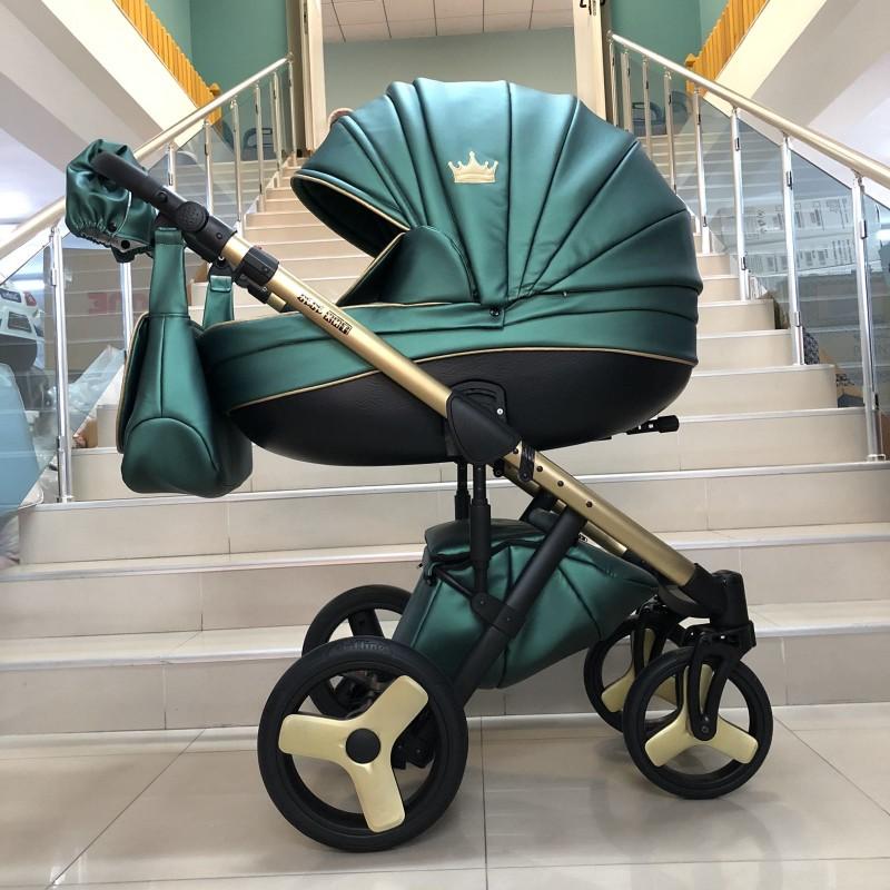 Бебешка количка Versay gold king 2в1 ; цвят: зелено с златно