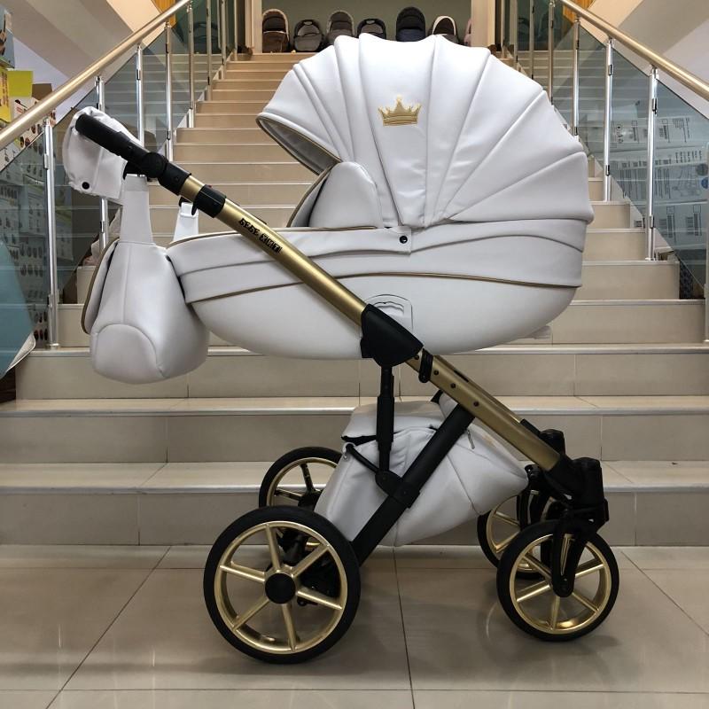Бебешка количка Versay gold king 3в1 ; цвтя/бяло с златно