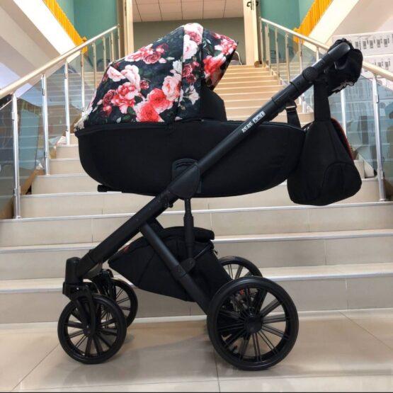 Бебешка количка Ферара 3в1; цвят/черно с цветя