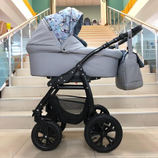 Бебешка количка Charlotte 2в1; цвят/сив/папагали