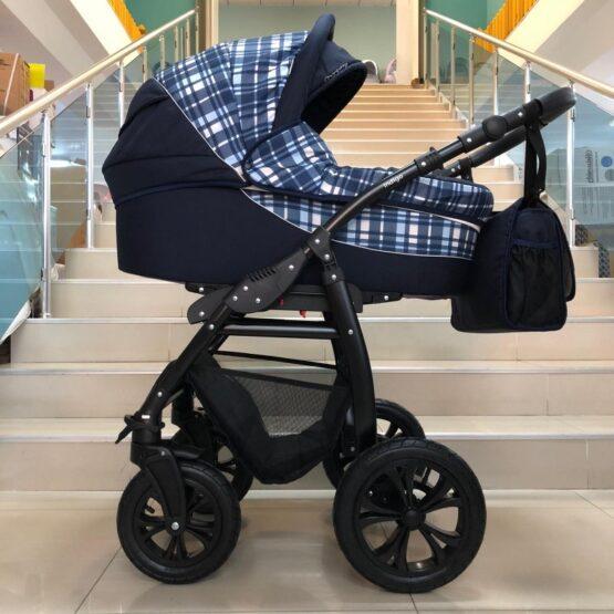 Бебешка количка Charlotte 2в1; цвят/син на каре