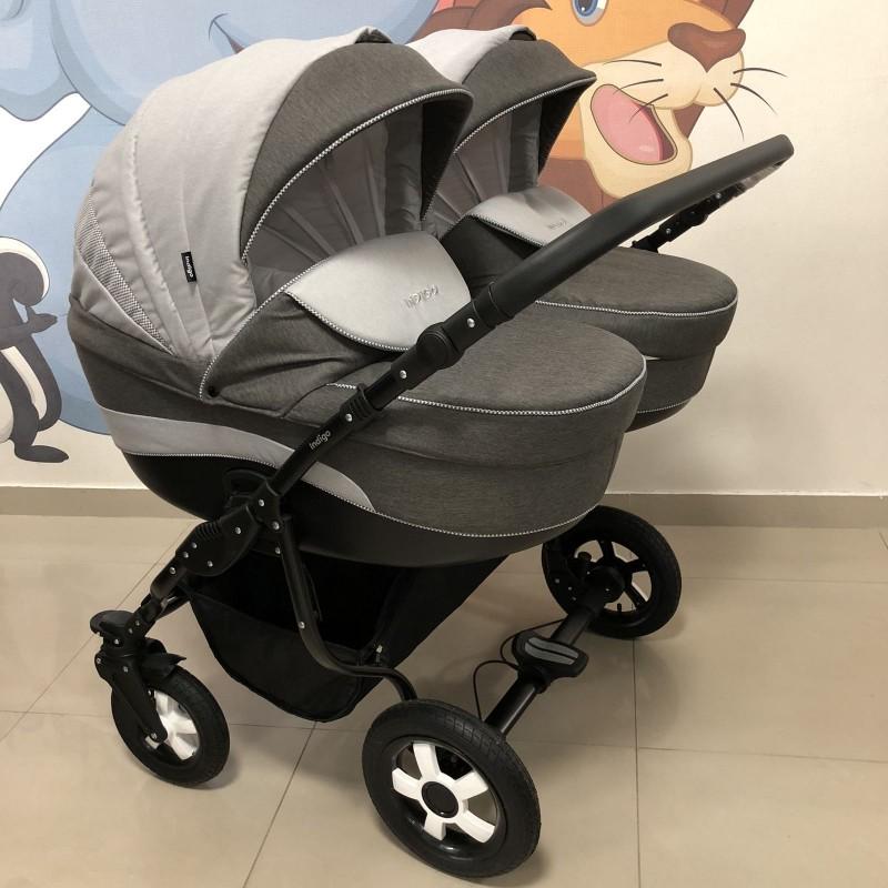 Бебешка количка за близнаци Indigo Duo; цвят/сив/каре