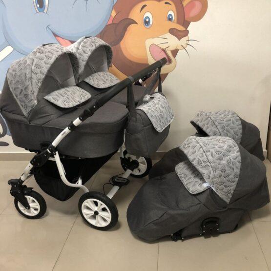 Бебешка количка за близнаци Charlotte Duo;цвят/сив/листа