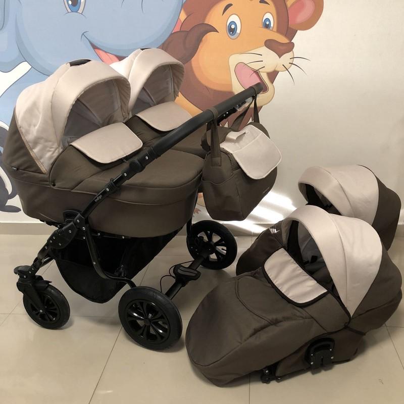 Бебешка количка за близнаци Charlotte Duo;цвят/кафяв/крем