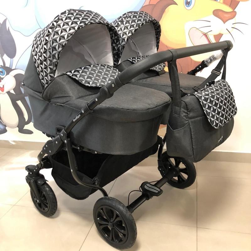 Бебешка количка за близнаци Charlotte Duo;цвят/черен/шарки