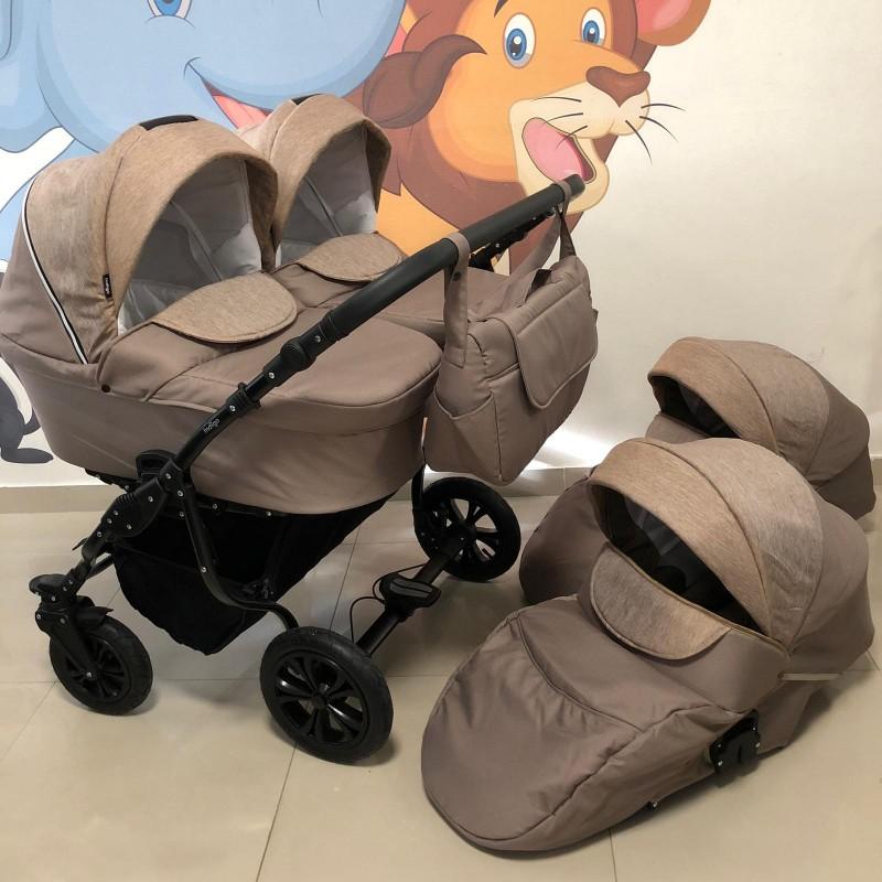 Бебешка количка за близнаци Charlotte Duo ; цвят/капучино