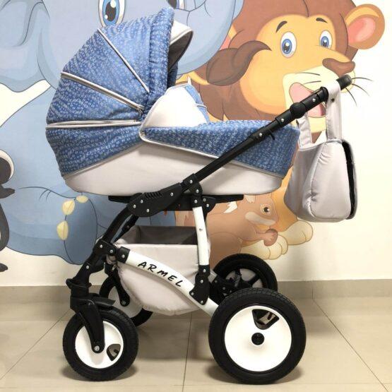 Бебешка количка Armel 2в1; цвят: син/сив/кръгчета