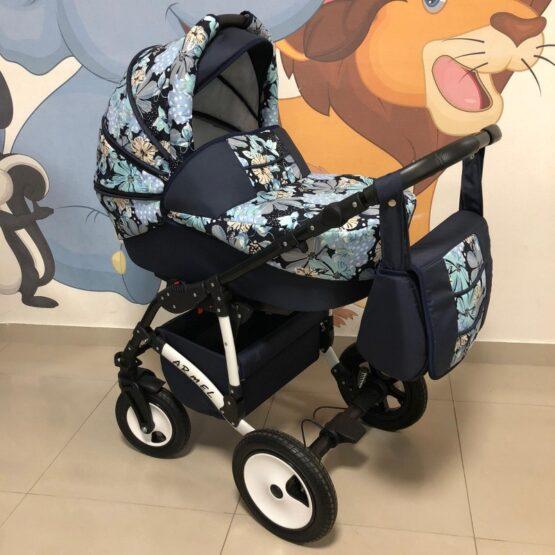 Бебешка количка Armel 2в1; цвят: бежов/шарки