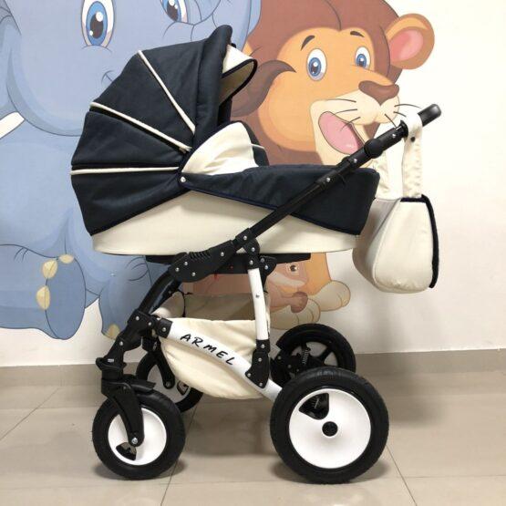 Бебешка количка Armel 2в1; цвят: тъмно син/крем