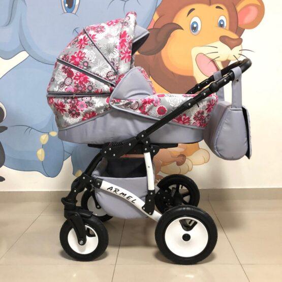 Бебешка количка Armel 3в1; цвят: сив/розови цветя