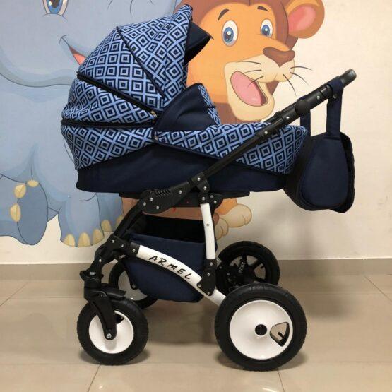 Бебешка количка Armel 2в1; цвят: тъмно син/квадрати